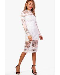 Boohoo - Boutique Veronique Lace Midi Dress - Lyst