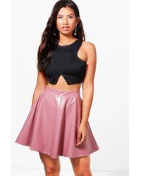 Boohoo | Ines Vinyl Skater Skirt | Lyst