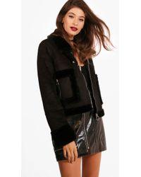 Boohoo - Boutique Emma Faux Fur Pocket Aviator Jacket - Lyst