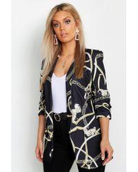 Boohoo - Plus Chain Print Rouched Sleeve Blazer - Lyst