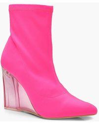Boohoo Neon Clear Wedge Sock Boots
