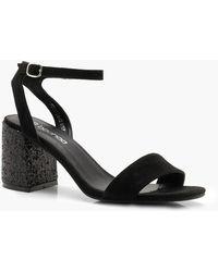 75d785699b49 Boohoo Wide Fit Glitter Platform Heels in Black - Lyst