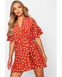 Boohoo - Womens Large Polka Dot Floral Tea Dress - Orange - 4 - Lyst