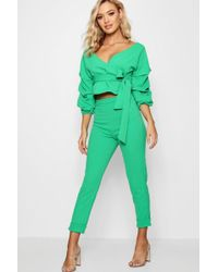 Boohoo - Wrap Rouche Top & Trouser Co-ord Set - Lyst