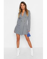 Boohoo - Dogtooth Button Blazer Dress - Lyst