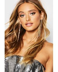 Boohoo - Rainbow Diamante Statement Earrings - Lyst