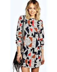 Boohoo - Gracie Geo Print Long Sleeve Shift Dress - Lyst