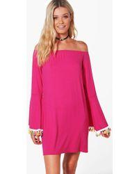 d08b118d4b61 Boohoo - Cara Off The Shoulder Tassel Trim Dress - Lyst