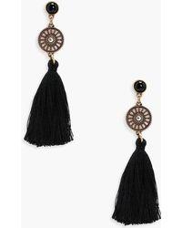Boohoo - Diamante Circle Tassel Earrings - Lyst