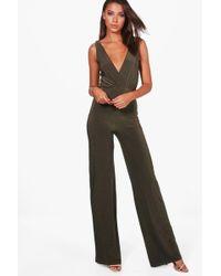Boohoo - Tall Wrap Front Wide Leg Slinky Jumpsuit - Lyst