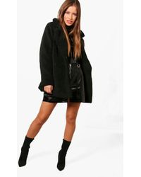 Boohoo - Petite Jenny Double Breasted Teddy Coat - Lyst