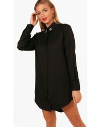 Boohoo - Embellished Collar Shirt Dress - Lyst