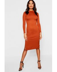 93a66ac043f79 Boohoo Maternity Square Neck Ribbed Midi Dress - Lyst