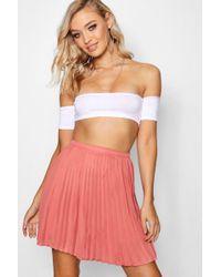 Boohoo - Pleated Woven Mini Skirt - Lyst