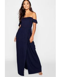 Boohoo - Petite Bardot Wrap Maxi Dress - Lyst