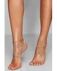 Boohoo - Statement Layered Chain Anklet Pair - Lyst