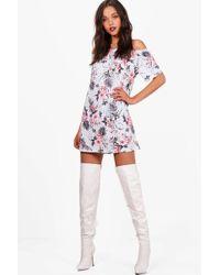 fbafab7336020 Boohoo Plus Floral Off The Shoulder Midi Dress in Blue - Lyst