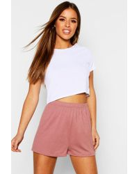 Boohoo - Petite Basic Jersey Curved Hem Pj Shorts - Lyst