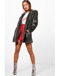 0fba58f4e3b0d Boohoo Jessica Short Camo Faux Fur Lined Parka in Natural - Lyst