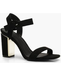 4216e908e2d3 Lyst - Boohoo Annabelle Embroidered Low Block Heel 2 Parts in Black