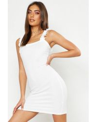 307fdd01f907 Boohoo Olivia Tiered Ruffle Smock Dress in White - Lyst