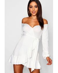 10ea5ce3a1 Boohoo Lace Up Front Off The Shoulder Skater Dress in White - Lyst