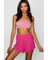 Boohoo - Tall Lila Basic Oversized Flippy Shorts - Lyst