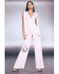 Boohoo - Premium Foiled Satin Cape Sleeve Wide Leg Jumpsuit - Lyst