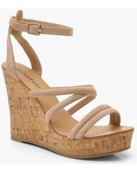 Boohoo - Tubular Cork Wedges - Lyst