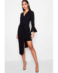 Boohoo - Asymmetric Belted Midi Dress - Lyst