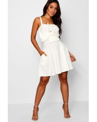 Boohoo Exaggerated Bow Back Skater Dress in Blue - Lyst 9aa80fe40
