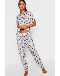 4d4588691498 Lyst - Boohoo Elise Sleeping Pug Crop   Legging Pjs in Gray