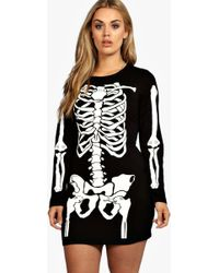Boohoo - Plus Gracie Skeleton Halloween Bodycon Dress - Lyst