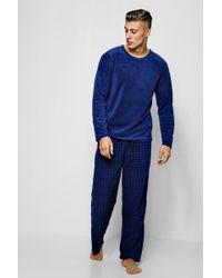 Boohoo - Parure de pyjama en polaire à carreaux - Lyst