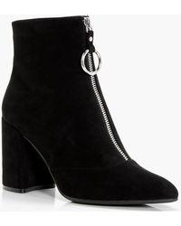 Boohoo - Tegan Oversized O-ring Cylinder Heel Boot - Lyst