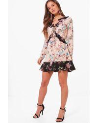 Boohoo   Petite Felicity Floral Print Ruffle Detail Tea Dress   Lyst