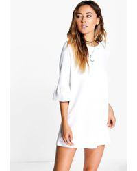 Boohoo - Ruffle Sleeve Shift Dress - Lyst