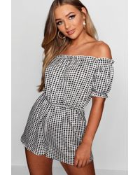 1a94c84d0094 Lyst - Kimchi Blue Off-the-shoulder Smocked Gingham Romper in Blue