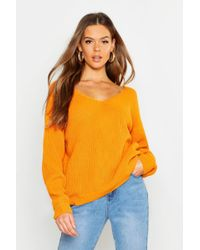 1ba789c2ed3 Boohoo Plus Wrap Front Knitted Jumper in Blue - Lyst