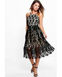Boohoo - Boutique Strappy Lace Midi Skater Dress - Lyst