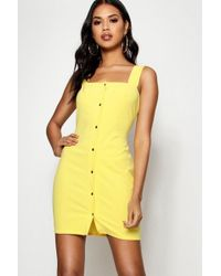 Boohoo - Popper Front Square Neck Bodycon Dress - Lyst