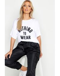 Boohoo - Plus Nothing To Wear Slogan T-shirt - Lyst