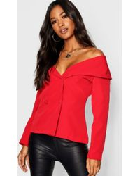 Boohoo - Off The Shoulder Covered Button Blazer - Lyst