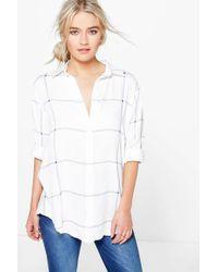 Boohoo - Large Grid Oversized Shirt - Lyst