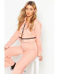 c6f27022b72c Boohoo Pink Cropped Contrast Stitch Denim Jacket in Pink - Lyst
