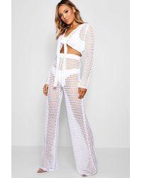 Boohoo - Tasha Tie Front Crochet Flare Trouser Set - Lyst