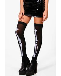 Boohoo - Isla Halloween Skeleton Stockings - Lyst
