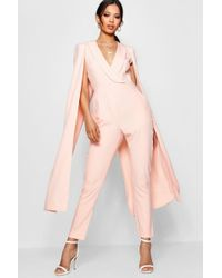 Boohoo - Cape Woven Tailored Jumpsuit - Lyst