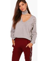 Boohoo - Olivia Choker Eyelet Lace Up Sweat - Lyst