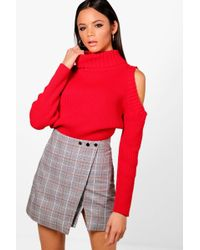 Boohoo - Tall High Neck Cold Shoulder Jumper - Lyst